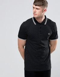 Черная футболка-поло в горошек Fred Perry - Черный