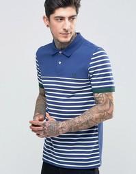 Синяя футболка‑поло классического кроя в полоску Fred Perry