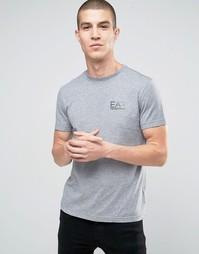 Серая футболка с логотипом на груди Emporio Armani EA7 - Серый