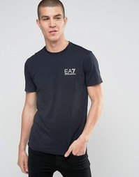 Темно-синяя футболка с логотипом на груди Emporio Armani EA7