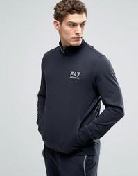 Темно-синий свитшот с высокой горловиной Emporio Armani EA7