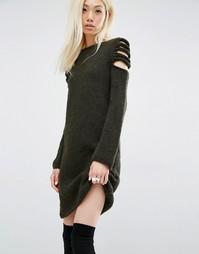 Платье-джемпер ручной работы с открытыми плечами Oneon - Хаки