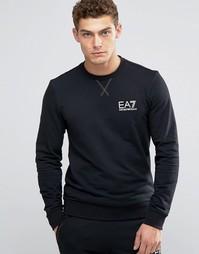 Черный свитшот с логотипом на груди Emporio Armani EA7 - Черный
