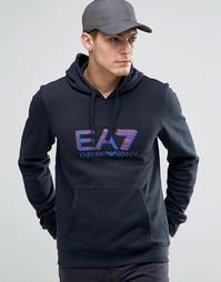Темно-синее худи с логотипом Emporio Armani EA7 - Темно-синий