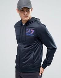 Худи на молнии с логотипом Emporio Armani EA7 - Темно-синий