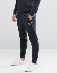 Черные джоггеры с манжетами и логотипом Emporio Armani EA7 - Черный
