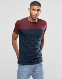 Бордовая футболка в стиле колор блок Lindbergh - Bordeaux