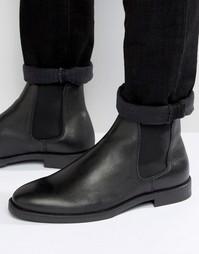 Черные кожаные ботинки челси Selected Marc - Черный