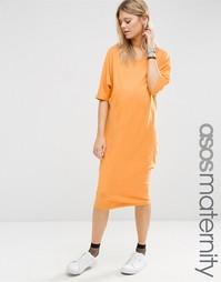 Платье-футболка миди с рукавами-кимоно ASOS Maternity - Оранжевый