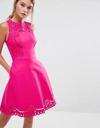 Приталенное платье с ажурной отделкой Ted Baker Verony - Розовый