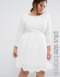 Хлопковое платье с вышивкой Boohoo Plus - Белый