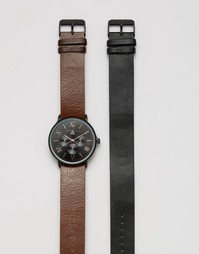 Часы со сменными ремешами черного и золотисто-розового цвета ASOS