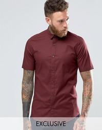 Строгая рубашка скинни с короткими рукавами Only & Sons - Burgundy