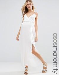 ASOS Maternity Ruffle Beach Wrap Maxi Dress - Слоновая кость
