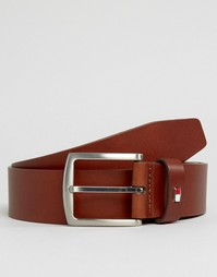 Tommy Hilfiger Denton Flag Logo Leather Belt In Tan - Рыжий