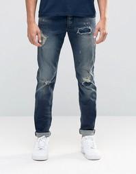 Рваные джинсы слим Jack & Jones - Умеренный синий