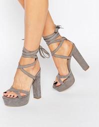 Сандалии на блочном каблуке и шнуровке Truffle - Серый микро
