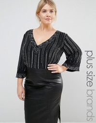 Lovedrobe Luxe Kimono Sleeve Plunge Front All Over Embellished Body