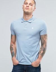 Синяя облегающая футболка-поло из пике с логотипом ASOS - Neptune