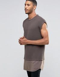Oversize-джемпер без рукавов с контрастной трикотажной вставкой по низ Asos