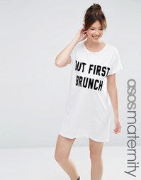 ASOS Maternity But First Brunch Sleep Tee - Белый