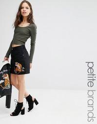 Джинсовая юбка с вышивкой Glamorous Petite - Черный