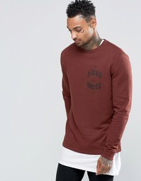 ASOS Sweatshirt In Chestnut With Chest Print - Chestnut