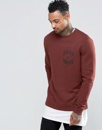 ASOS Sweatshirt In Chestnut With Chest Print - Chestnut