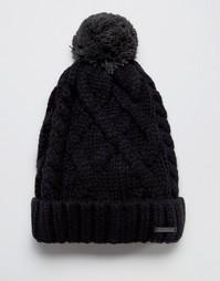 Шерстяная вязаная шапка с помпоном Diesel - Черный