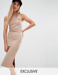 Бежевое платье в рубчик с высоким воротом Puma эксклюзивно для ASOS