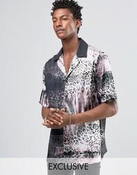 Рубашка с отложным воротником и животным принтом Reclaimed Vintage