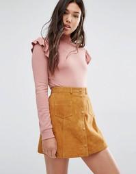 Джемпер с оборками на рукавах Boohoo - Сумеречно-розовый