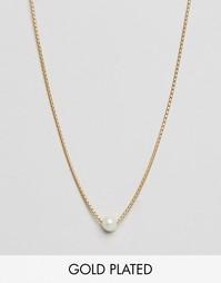 Позолоченное ожерелье‑чокер с жемчужной подвеской Dogeared