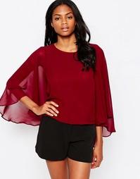 Блузка с рукавами в стиле кейп AX Paris - Wine