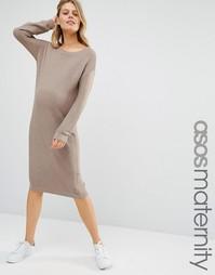 Вязаное платье миди для беременных ASOS Maternity