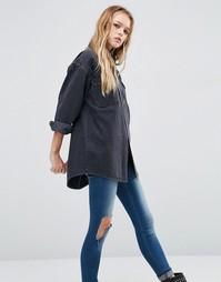 Черная джинсовая рубашка бойфренда ASOS - Выбеленный черный