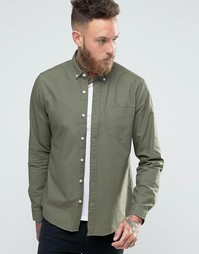 ASOS Laundered Twill Shirt In Light Khaki With Long Sleeves - Lt khaki