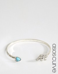 ASOS CURVE Open Elephant Cuff Bracelet - Бирюзовый