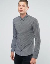Строгая рубашка узкого кроя с принтом Hugo By Hugo Boss - Черный