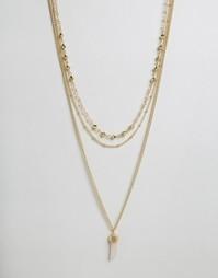 Ярусное ожерелье с коралловым камнем Ashiana