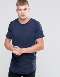 Удлиненная футболка с необработанным краем Jack & Jones - Темно-синий