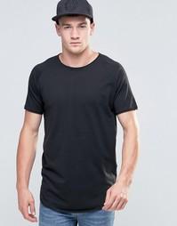 Удлиненная футболка с необработанным краем Jack & Jones - Черный