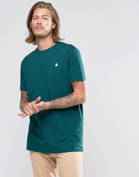 ASOS Longline T-Shirt With Crew Neck And Logo In Green - Swamp