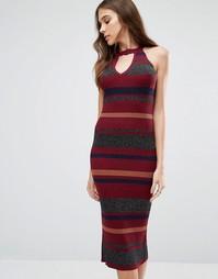 Вязаное платье‑футляр в полоску QED London - Wine combo