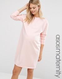 Oversize-платье из трикотажа для беременных ASOS Maternity - Телесный
