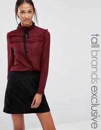 Блузка с завязкой у горловины и отделкой рюшами Glamorous Tall - Wine