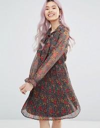 Плиссированное платье с длинными рукавами и цветочным принтом Yumi