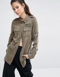 Рубашка в армейском стиле с нашивками Only - Зеленый