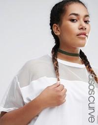 Классическое бархатное ожерелье-чокер ASOS CURVE - Хаки