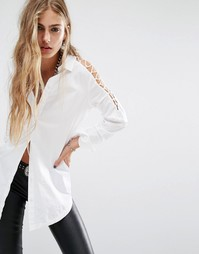 Рубашка с вырезами на плечах Noisy May - Снежно-белый